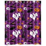 "Funny Hallowen Time Ghost Pumpkin Halloween Things Shower Curtain (Shower Rings Included) 60""x72"" New Waterproof Polyester Fabric Curtain"