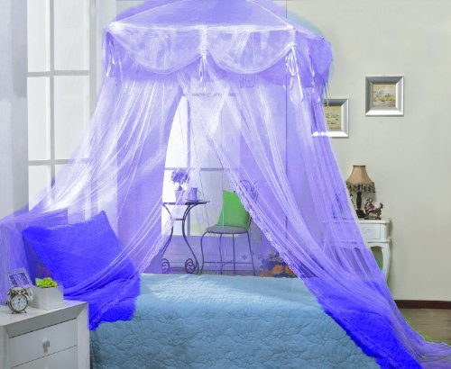 Purple lilac square princess bed canopy by sid for Rectangle bed canopy