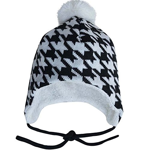 Warm Cute Baby Toddler Fall Winter Earflap Beanie Hat (M: 6-24 Months, Houndstooth) (Halloween Costumes Canada)