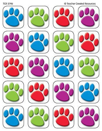 20 Pack TEACHER CREATED RESOURCES COLORFUL PAW PRINTS 120 STICKERS