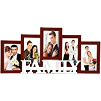 Priya Collections Glass 5-in-1 Collage Photo Frame With Frame (50 Cm X 28 Cm X 3 Cm, Brown)