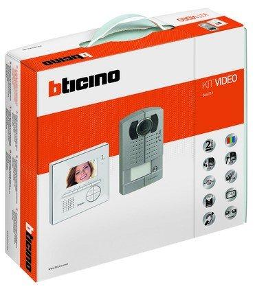 BTICINO KIT VIVAVOCE MONOFAMILIARE A COLORI CON VIDEOCITOFONO CLASSE 100V12E E LINEA 2000 METAL 366711