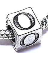 Charm Buddy Silver Plated Alphabet Initial Letter O Jewellery Charm Bead Fits Pandora Troll Bracelets