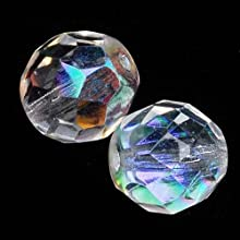 Czech Fire Polish Glass Beads 10mm Round Crystal AB 12