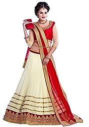 Unique Fashions Women's Cream Red Lehenga Cholis