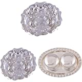 GS MUSEUM Silver Plated Rani Kumkum Plate 2 Sets And Silver Plated 2 Web Small Dibby Set