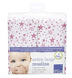 Bambino Mio, Extra Large Muslin Squares 120 x 120cm, Pink Stars, 2 Count