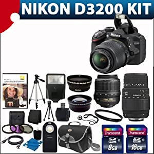 Nikon D3200 24.2 MP Cmos Digital SLR with 18-55mm F/3.5-5.6 Af-s Dx Vr Nikkor Zoom Lens + Sigma 70-300mm f/4-5.6 SLD DG Macro Lens with built in motor Lens + 52mm 2x Professional Lens +High Definition 52mm Wide Angle Lens + Auto Flash + Uv Filter Kit with 24GB Complete Deluxe Accessory Bundle