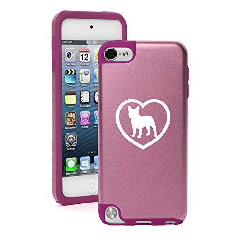 Apple iPod Touch 5th / 6th Generation Aluminum & Silicone Hard Case Cover French Bulldog Heart (Light Pink) (Ipod 5th Generation Bulldog Cases compare prices)
