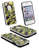 Apple iPhone 4 / 4G / 4S Leather Finish (Army / Camouflage) Slim Hard Back With Crystal Edges Case Cover Plus Screen Protector & Polishing Cloth