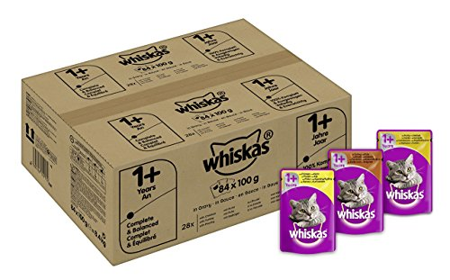 Whiskas-1-Katzenfutter-Geflgelauswahl-in-Sauce-84-Beutel-84-x-100-g