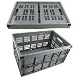 AGPtek 42L Collapsible Gray Plastic Storage Crate Space Saving Folding Flat Basket Organizer