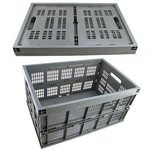 Agptek 42L Collapsible Gray Plastic Storage Crate Space Saving Folding Flat Basket Organizer front-1006075