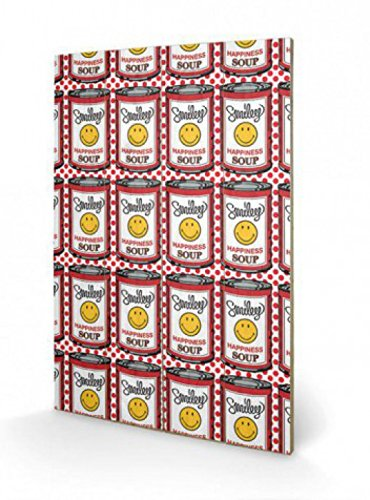 Smileys - Happiness Soup Cans, Pop Art Cuadro De Madera (60 x 40cm)