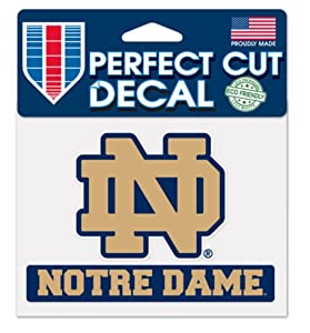 Buy NCAA Notre Dame Fighting Irish 4x5 logo Perfect Cut Decal by WinCraft