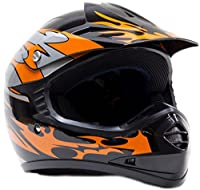 Youth Off Road Gear Combo Helmet Gloves & Goggles - Orange (Large) from Typhoon Helmets