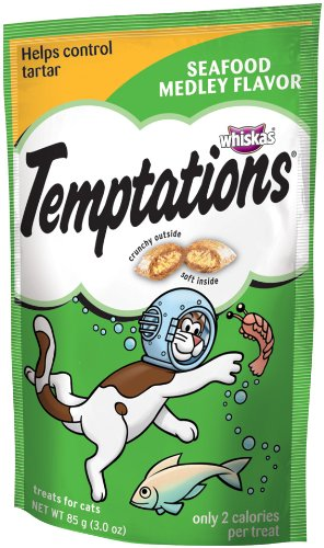 Whiskas Temptations Seafood Medley Flavour Treats for Cats, 3-Ounce Pouches (Pack of 12)