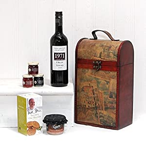 PERSONALISED Clarendon Vintage Wooden Wine Chest Hamper with 750ml Fine Red Wine ADD YOUR OWN MESSAGE & NAME TO THE WINE LABEL with Epicure Pate, Savoury Biscuits & Fruit Spread Selection Gift ideas for - Valentines,Presents,Birthday,Men,Him,Dad,Her,Mum,Thank you,Wedding Anniversary,Engagement,18th,21st,30th,40th,50th,60th,70th,80th,90th