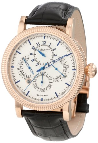 Stuhrling Original Men's 97BB.33452 Symphony Timemaster Automatic Date Multi-Function Rose Tone Black Leather Strap Watch