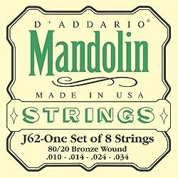 D'Addario J62 80/20 Bronze Mandolin Strings, Light, 10-34