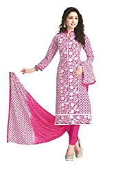 PShopee Pink Cotton Embroidery Unstitched Multistylist Dress Material