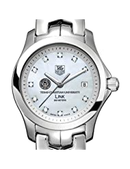 Texas Christian University TAG Heuer Watch - Women's Link with Mother of Pearl Diamond Dial