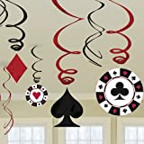 Amscan Casino Swirl Hanging Party Decoration (12 Piece), Multi Color, 10 x 9.5