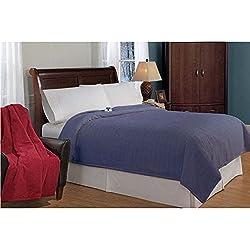 Serta Luxurious Low-Voltage Electric Heated Micro-Plush Triple-Rib Twin Blanket, Midnight Blue