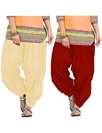 SPV Women's Salwar (SPV_0062A_Red & Beige_Free Size_Pack Of 2)