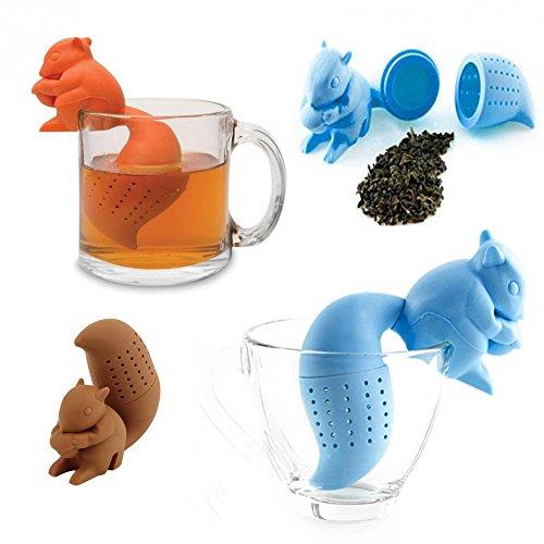 New Arrival Cute Silicone Squirrel Shape Tea Infuser Loose Leaf Strainer Bag Mug Filter Diffuser Holder Tea (Orange) (Mermaid Spoon Rest compare prices)