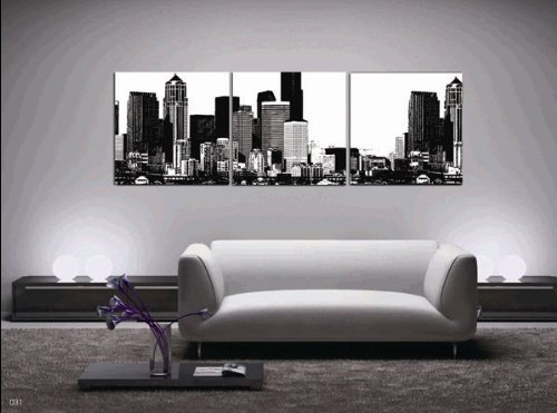 Huge 3 Panels Black And White City View Oil Painting Wall Hanging Decor Living Room Art Picture Paint Oil Painting On Canvas Painting