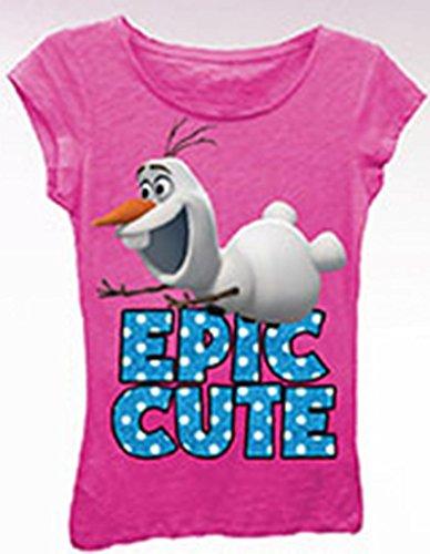 Frozen Little Girls' Epic Cute Tee, Hot Pink, 4