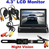 Alcoa Prime Universal Parking Assist 4. 3 Inch Foldable LCD Monitor Wireless IR Backup Reverse Night Vision Rearview...