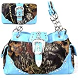 Western Belt Buckle Purse Camouflage Handbag Camo with Matching Wallet