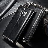 FLY SELINA Galaxy S6 Edge ケース 高級 レザー 手帳型 横開き カバー 革 マグネット式 カード収納 スタンド機能 ギャラクシー S6 エッジ 財布型 カバー 耐衝撃 ブラック