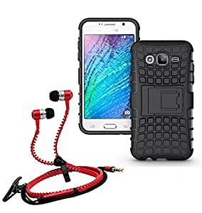 Hard Dual Tough Military Grade Defender Series Bumper back case with Flip Kick Stand for Samsung ON5 + Stylish zipper hand free for all smart phones by Carla Store