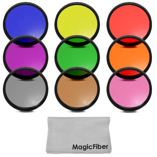 52Mm Complete Full Color Lens Filter Set For Nikon D3300 D3200 D3100 D3000 D5300 D5200 D5100 D5000 D7100 D7000 Dslr Cameras With A 18-55Mm Zoom Lens - Includes: Red, Orange, Blue, Yellow, Green, Brown, Purple, Pink And Gray Nd Filters + Magicfiber Microfi