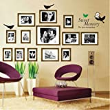 Toprate(TM) (13 Pieces) Gold Frame Sweet Memory do you remember Living Room Children's Bedroom Decoration Sofa TV Background Wall Decal Photo Picture Frame Birds Wall Decor Decal Sticker Vinyl Lettering Wall Sayings Home Art Decor