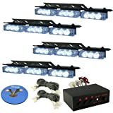 HQRP 36 LEDs 4 Panels Emergency White Strobe Deck Dash Grille Lights Tow / Plow Escort Safety for Truck Car Avto + HQRP Coaster