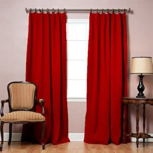 Best Home Fashion Cardinal Red Pinch Pleated Thermal Insulated Blackout Curtain 84