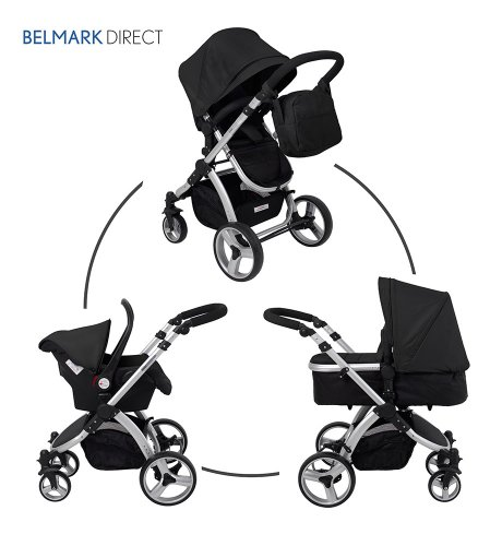 SproggiBELMARK 166949011 3 in 1 Baby Travel System/Stroller/Pram/Pushchair Black (silver frame) cruiser