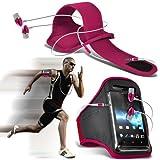 (Hot Pink) Nokia Lumia 530 Sport Armbänder mit dem Fahrrad Radfahren Fitnessstudio Joggen abzugewöhnen Armband Case Cover & für Mann aus Qualität der Ohrhörer Stereo Freisprecheinrichtung Headset mit integriertem Mikrofon Mic & On-Off -Button von Aventus * *
