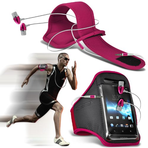 Samsung Galaxy S5 Universal Sports Armbands Running Bike Cycling Gym Jogging Ridding Arm Band Case Cover & Premium Quality In Ear Buds Stereo Hands Free Headphones Headset With Built In Microphone Mic & On-Off Button (Hot Pink) By Spyrox