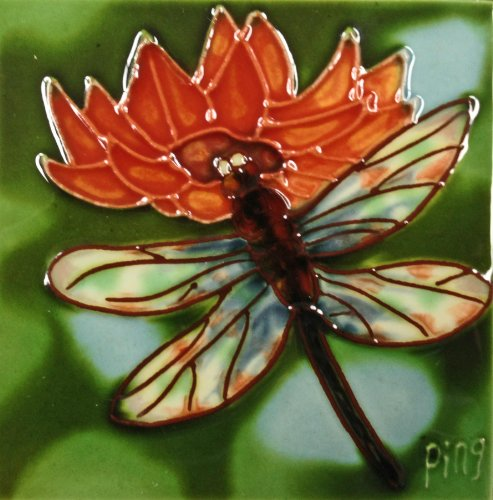 Continental Art Center SD-054 4 by 4-Inch Dragonfly Ceramic Art Tile