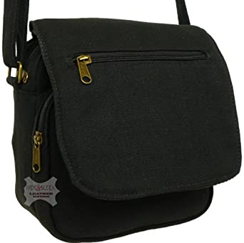 Ladies/Girls Small Cotton Canvas Shoulder Handbag Travel Crossbody Bag (Black)