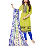 Apple Creation Green Dress Material Suit with Matching Dupatta