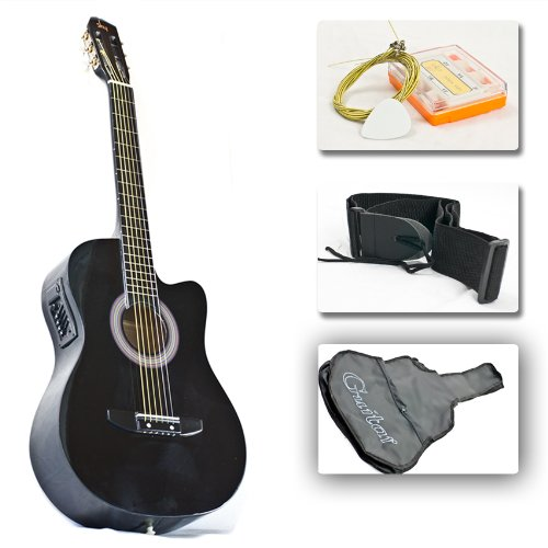 Black Electric Acoustic Guitar Cutaway Style W/ Accessories