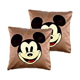 Art Decor Swede Brown Manpho Mickey Mouse Filled Kids Cushion Cover Set Of 2 (16X16 Inches)