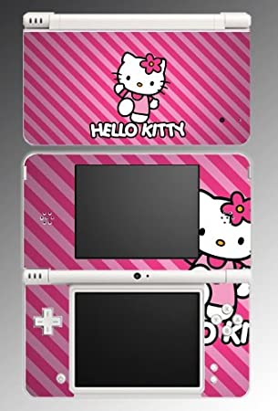 Hello Kitty Pink Princess Cute Candy Stripes Girl Video Game Vinyl Decal Cover Skin Protector 15 for Nintendo DSi XL
