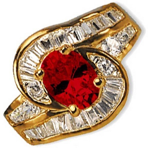 24k Gold Plate Oval-cut Simulated Ruby Cocktail Ring